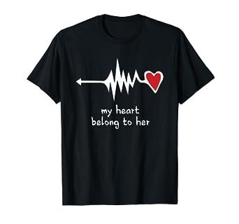 9e7d3e4b24 Amazon.com: Couples Matching Shirts, My Heart Belong to Her Love T ...