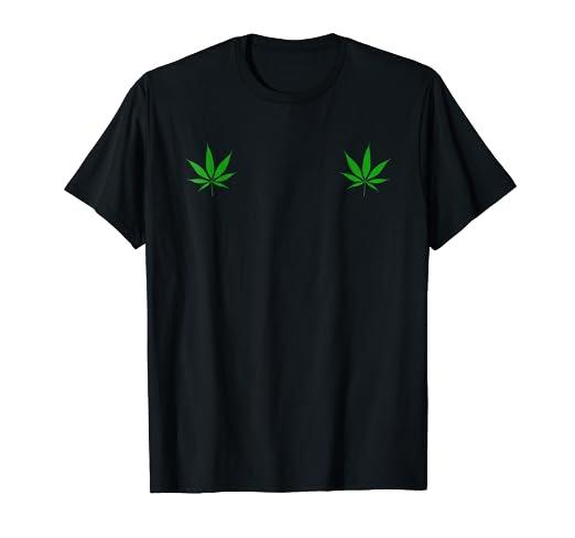 265aab7ea7fdc Amazon.com: Pot Leaves on Boobs T Shirt Funny Marijuana Gift: Clothing