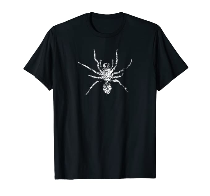 Distressed Large White Spider graphic insect fans Tee Shirt