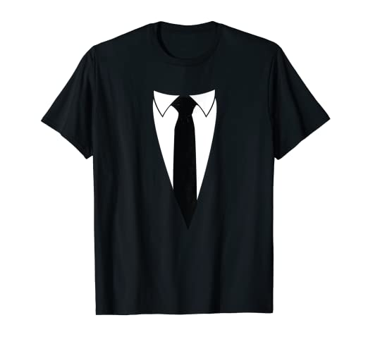 Amazon Com Black And White Suit With Neck Tie Funny Novelty T Shirt