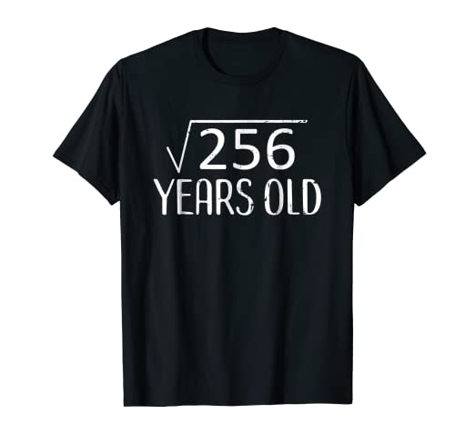 Image Unavailable Not Available For Color Square Root 256 TShirt Funny 16th Birthday Gift 16 Years Old