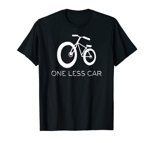 7a70bc893cf7d Amazon.com: One Less Car T-Shirt I Love Bikes Go Green Cycling ...