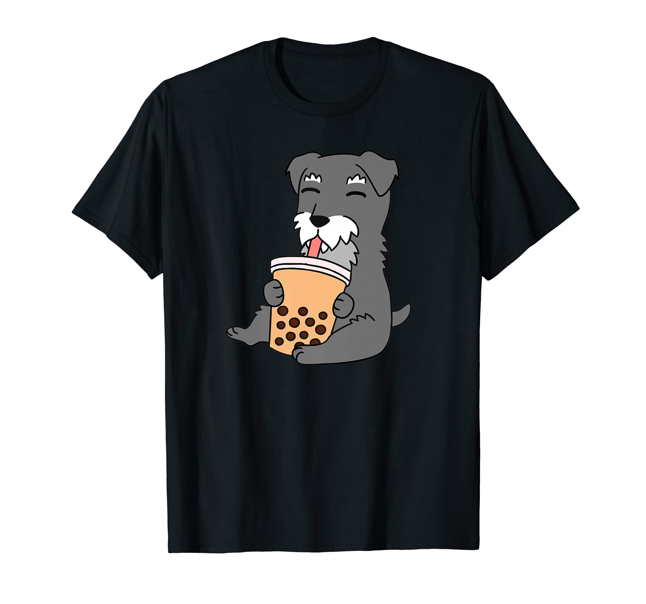 Schnauzer Drinking Bubble Tea Funny Dog Gift Premium T-Shirt-Men's T-Shirt-Black