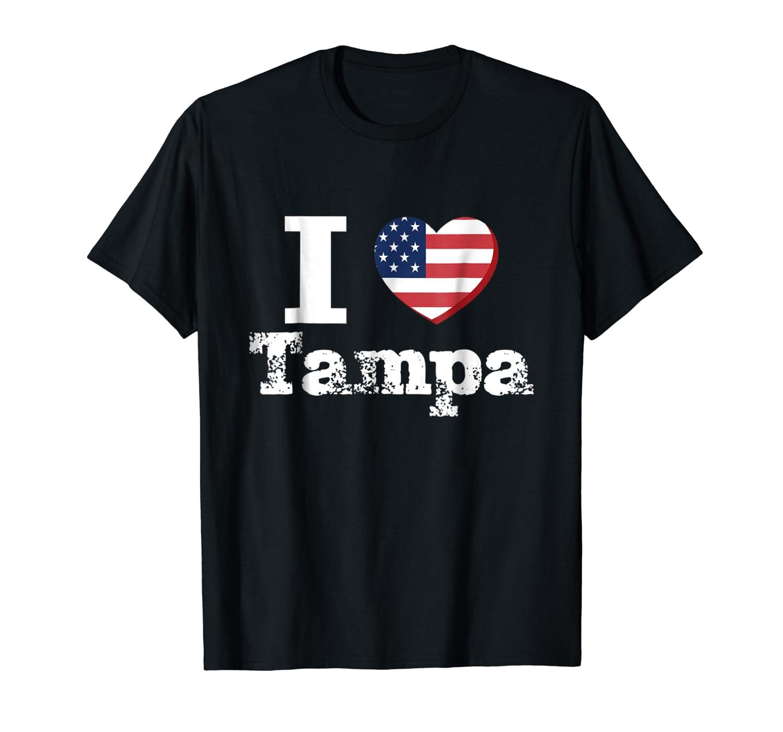 I Heart Love Tampa Patriotic Distressed Vintage T Shirt