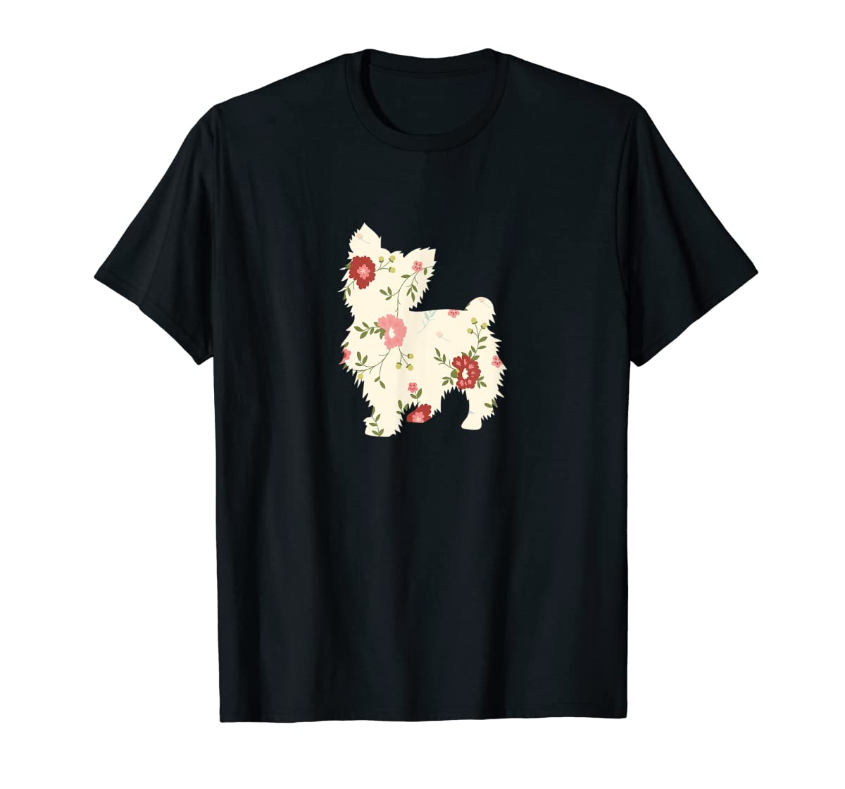 Yorkshire terrier Floral Vintage Dog Flower T-Shirt Gift Mom-Men's T-Shirt-Black