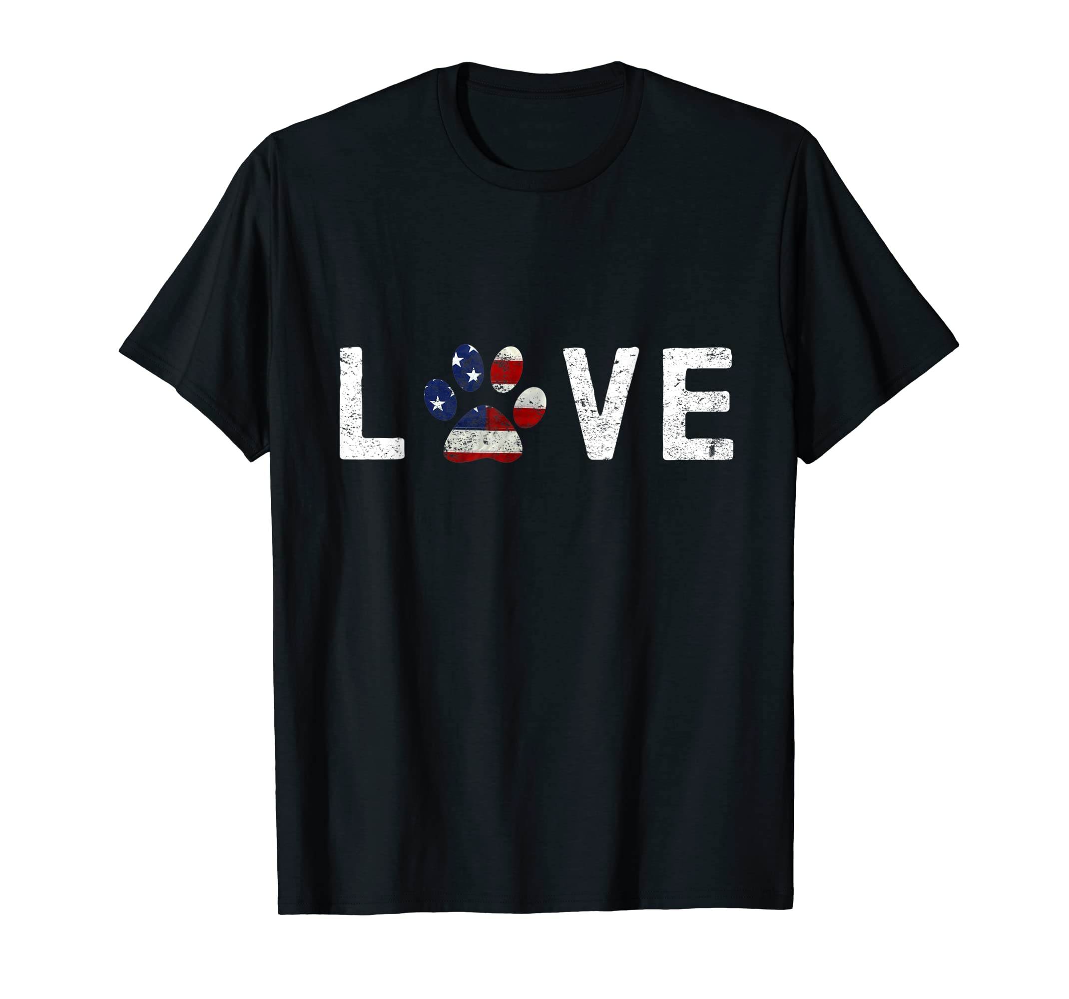 I Love Dogs & Cats American Flag Paw Print Dog & Cat T Shirt-Men's T-Shirt-Black