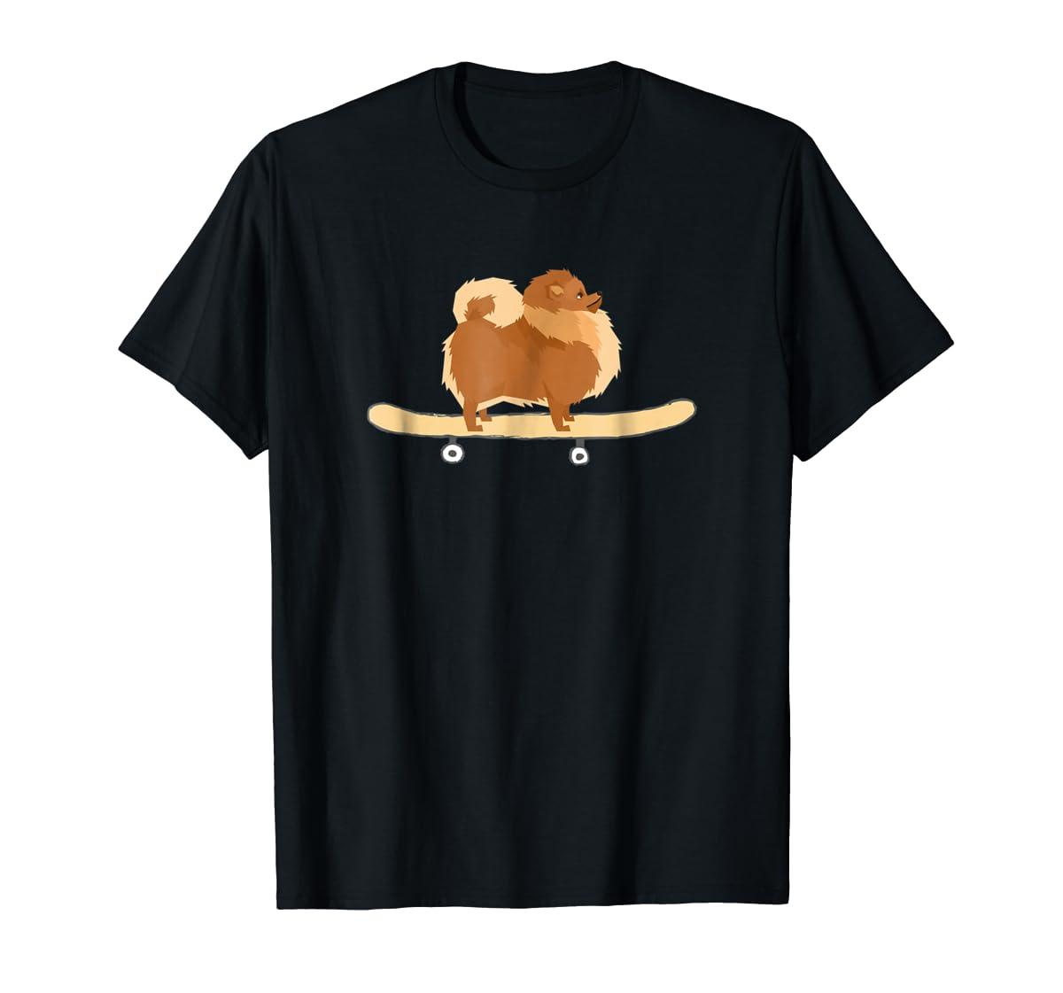 Funny Skateboarding Pomeranian Pom Puppy T-Shirt Gift-Men's T-Shirt-Black