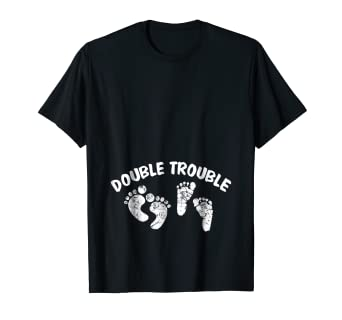71a42bf2335ff Image Unavailable. Image not available for. Color: Expecting Twins New Baby  Pregnancy T Shirt - Double Trouble