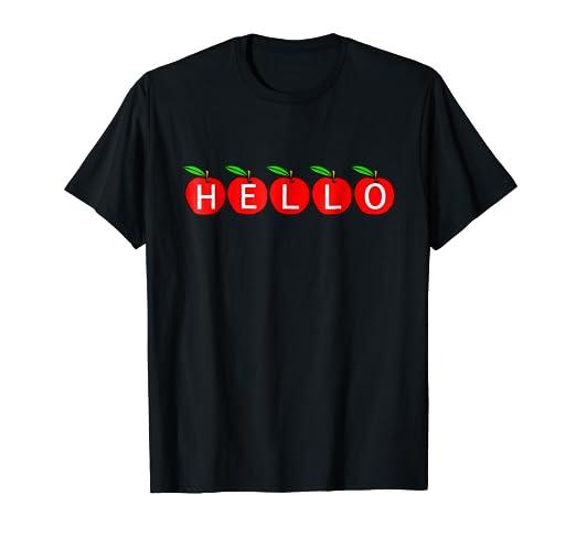 e50c3482 Amazon.com: Hello 5 Apple Teacher T-shirt ESL Teacher: Clothing