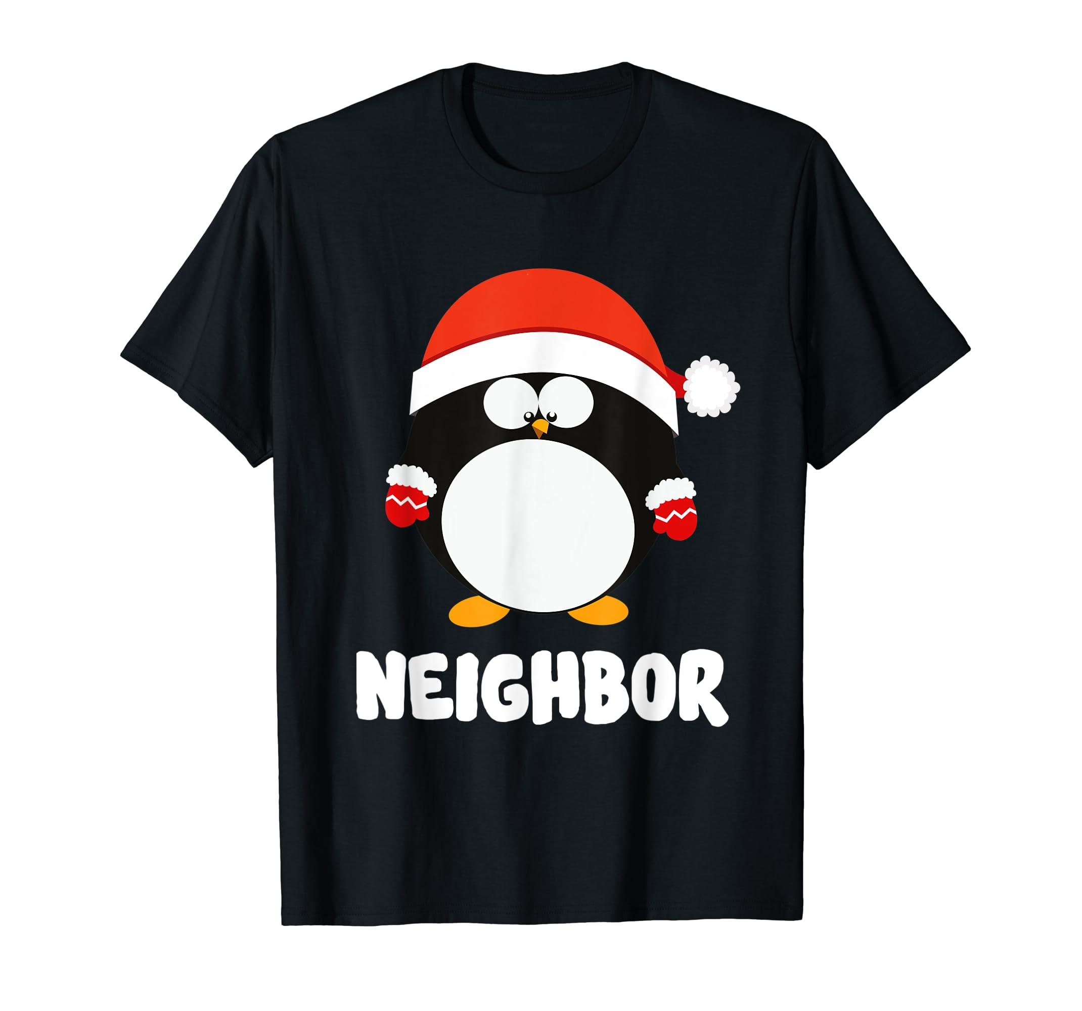 Santa Neighbor Penguin Christmas Family Matching Costume T-Shirt-Men's T-Shirt-Black