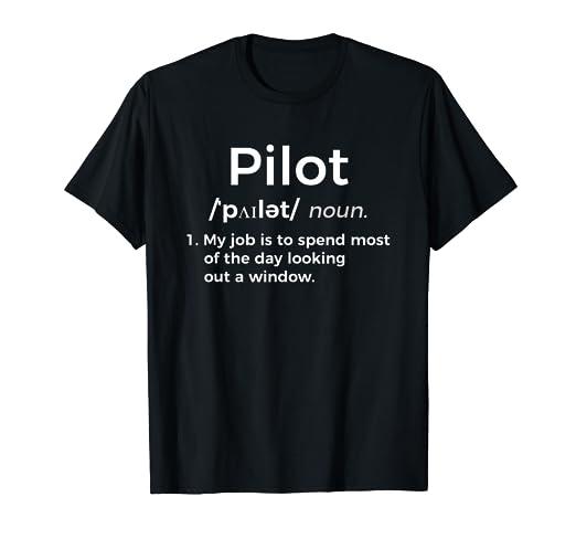 e0e172e3 Image Unavailable. Image not available for. Color: Funny Pilot Definition T-Shirt  Aviation ...