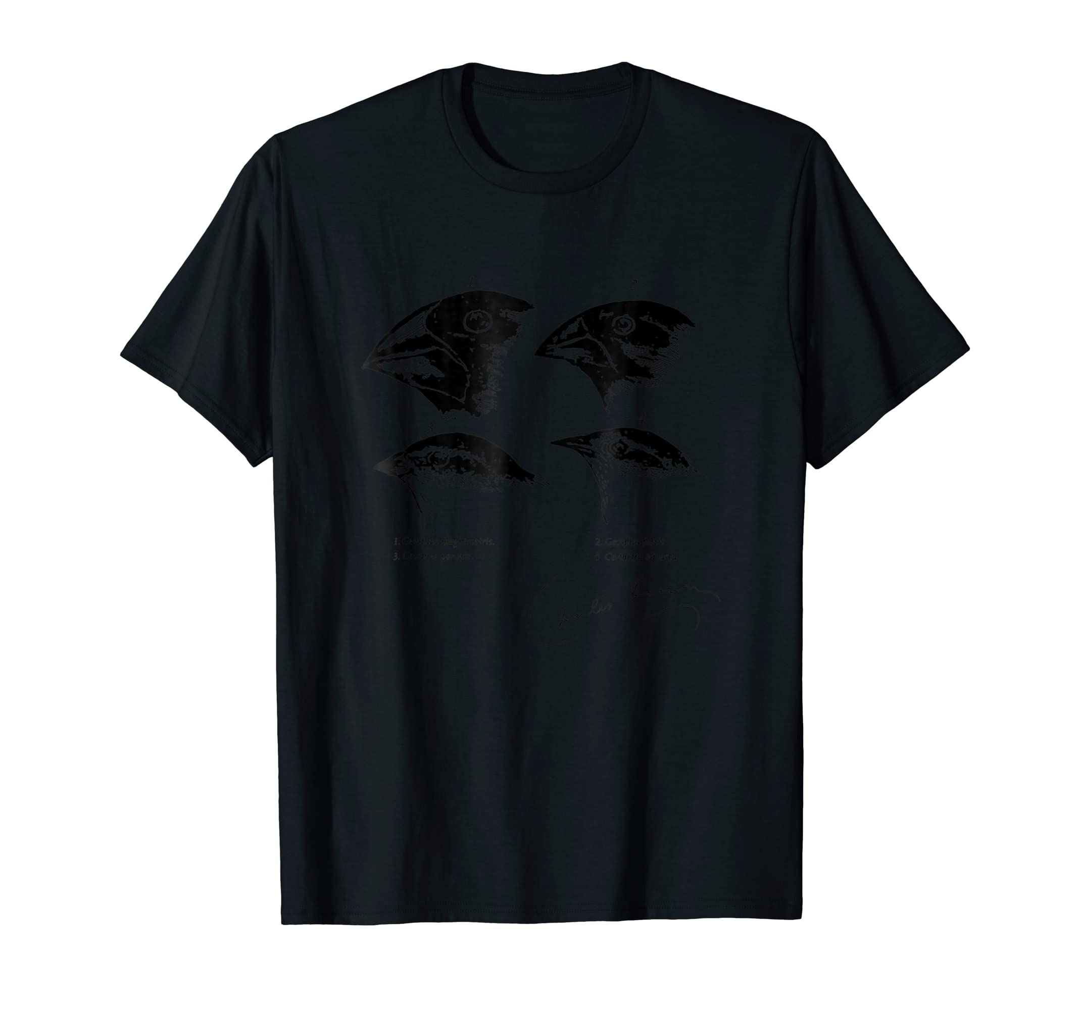 Darwin's Finches Illustration T-Shirt Evolution Atheist Tee-Men's T-Shirt-Black