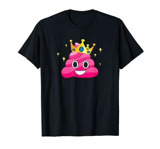 21b808cadab8 Amazon.com  Pink Queen Emoji Poop Funny Princess Crown   Sparkle T ...