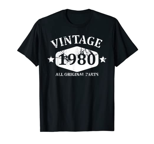 99637e72 Image Unavailable. Image not available for. Color: Vintage 1980 T-shirt  Best 39th Birthday Gift Men Women Tees