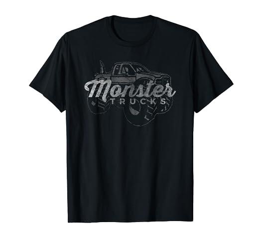 2656552e87484 Amazon.com  Monster Trucks Vintage Retro Big Truck Lover T-Shirt ...