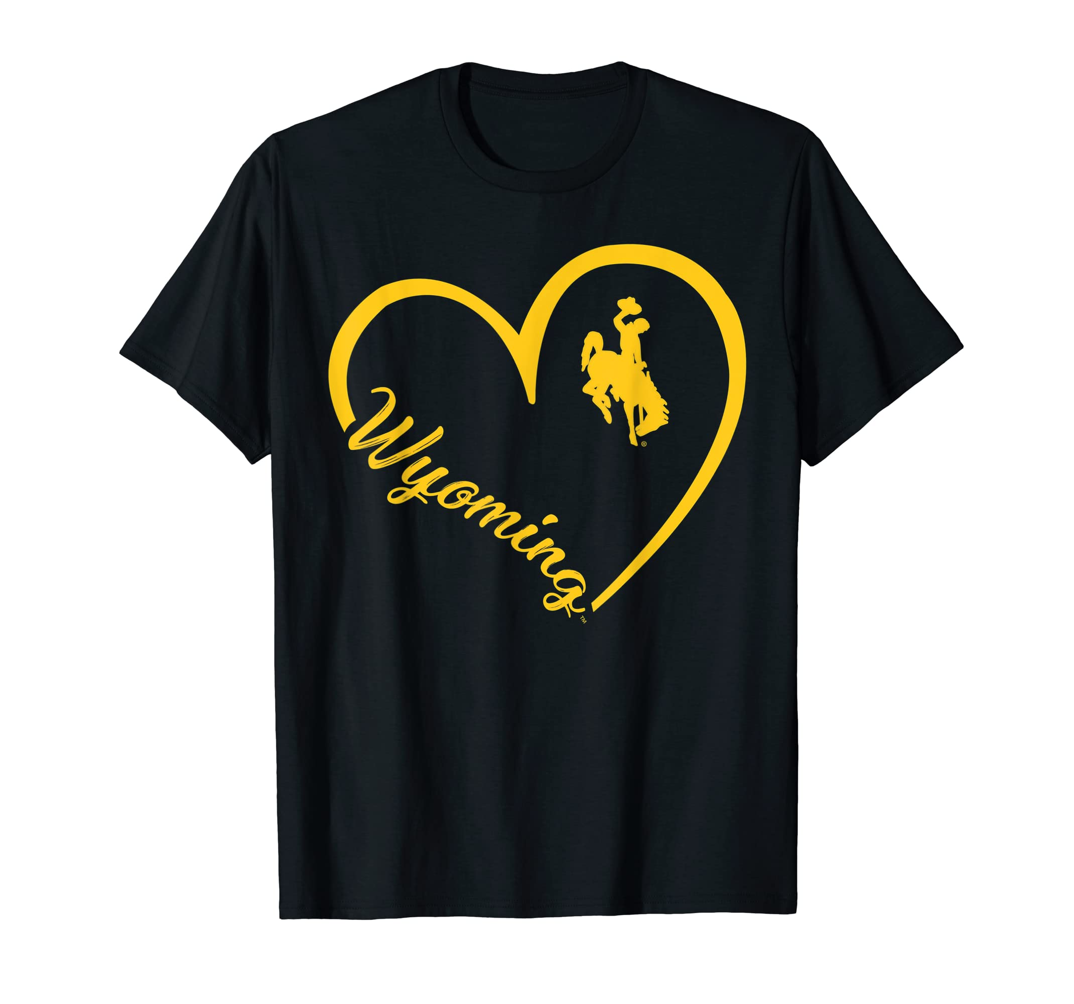 Wyoming Cowboys Heart Team Name T-Shirt - Apparel-Men's T-Shirt-Black