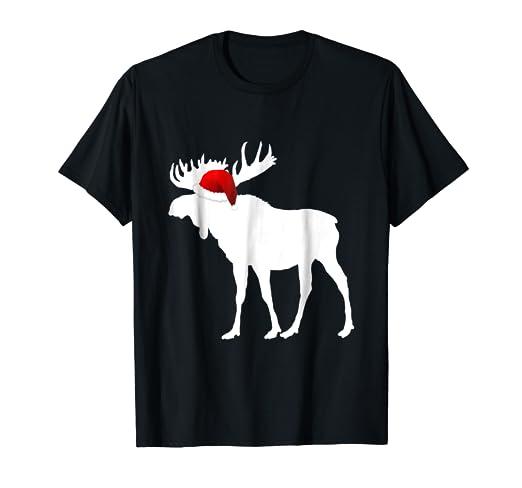 b79956cc5b0 Amazon.com  Christmas Pajama Shirt - Christmas Moose Santa Hat Tee ...