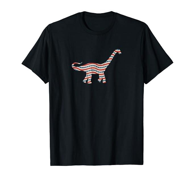 USA Stars and stripes Brontosaurus dino graphic Tee Shirt