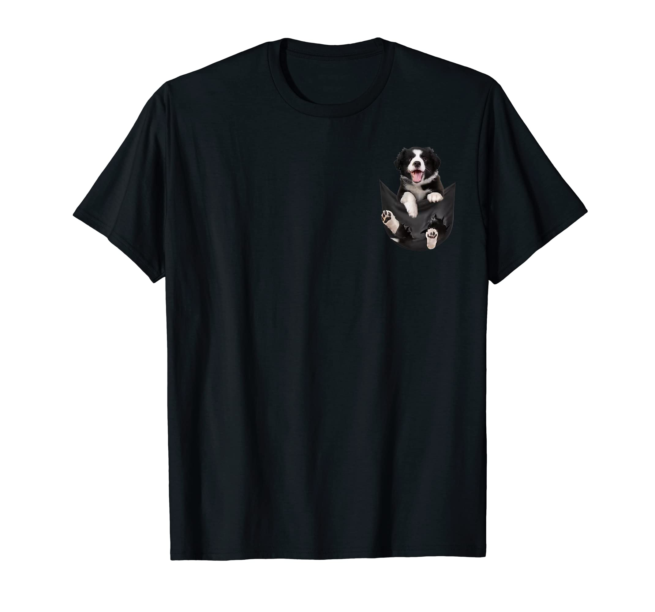 Gift dog funny cute shirt - Border Collie in pocket shirt T-Shirt-Men's T-Shirt-Black