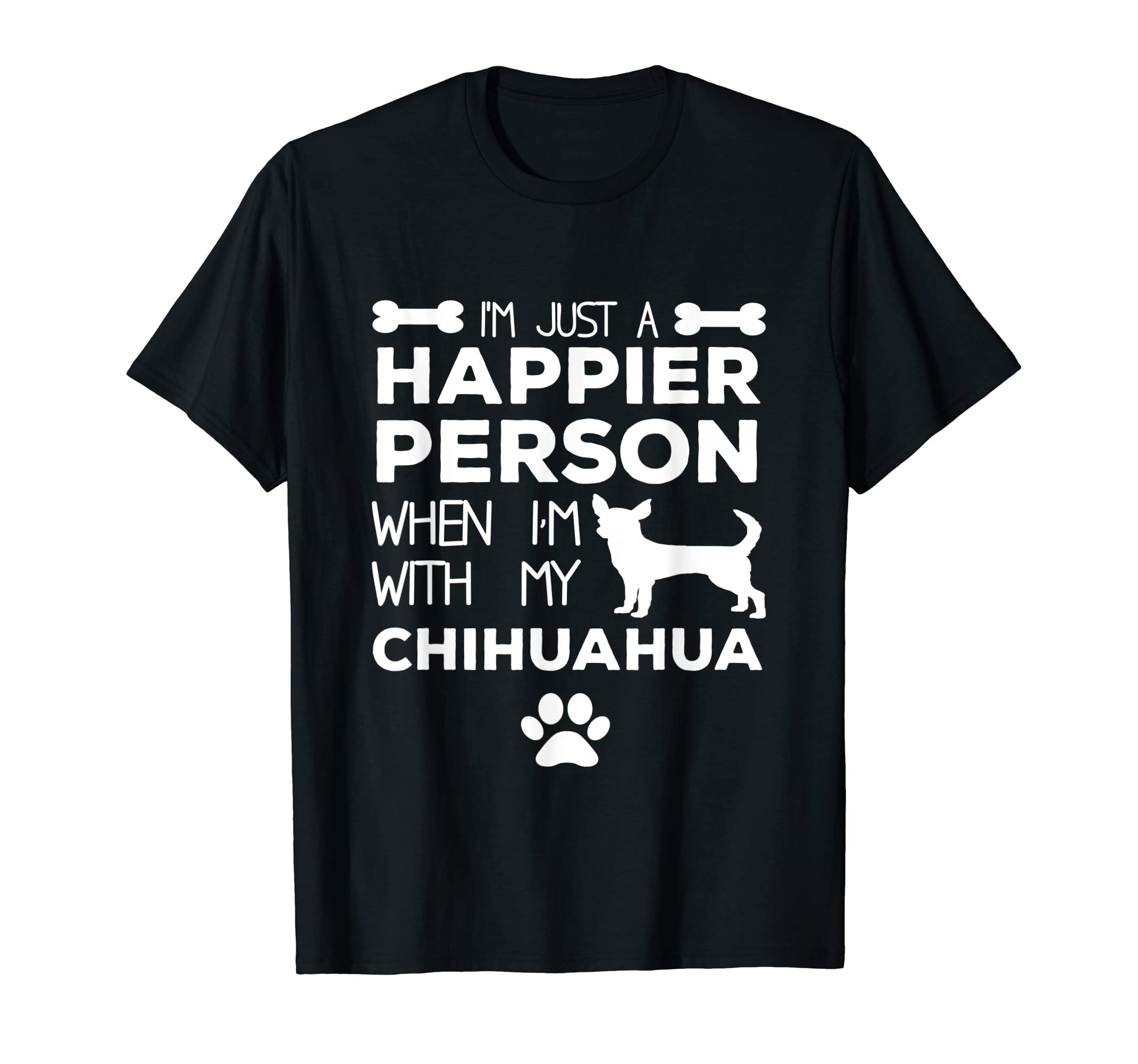 Happier Person When I'm With My Chihuahua Shirt-Men's T-Shirt-Black