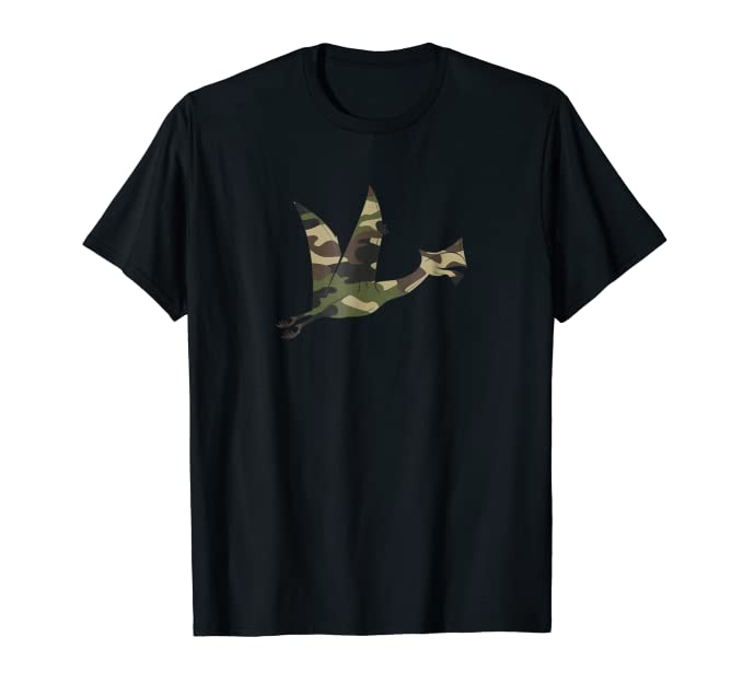 Cute Camouflage Flying Dinosaur graphic Tee Shirt