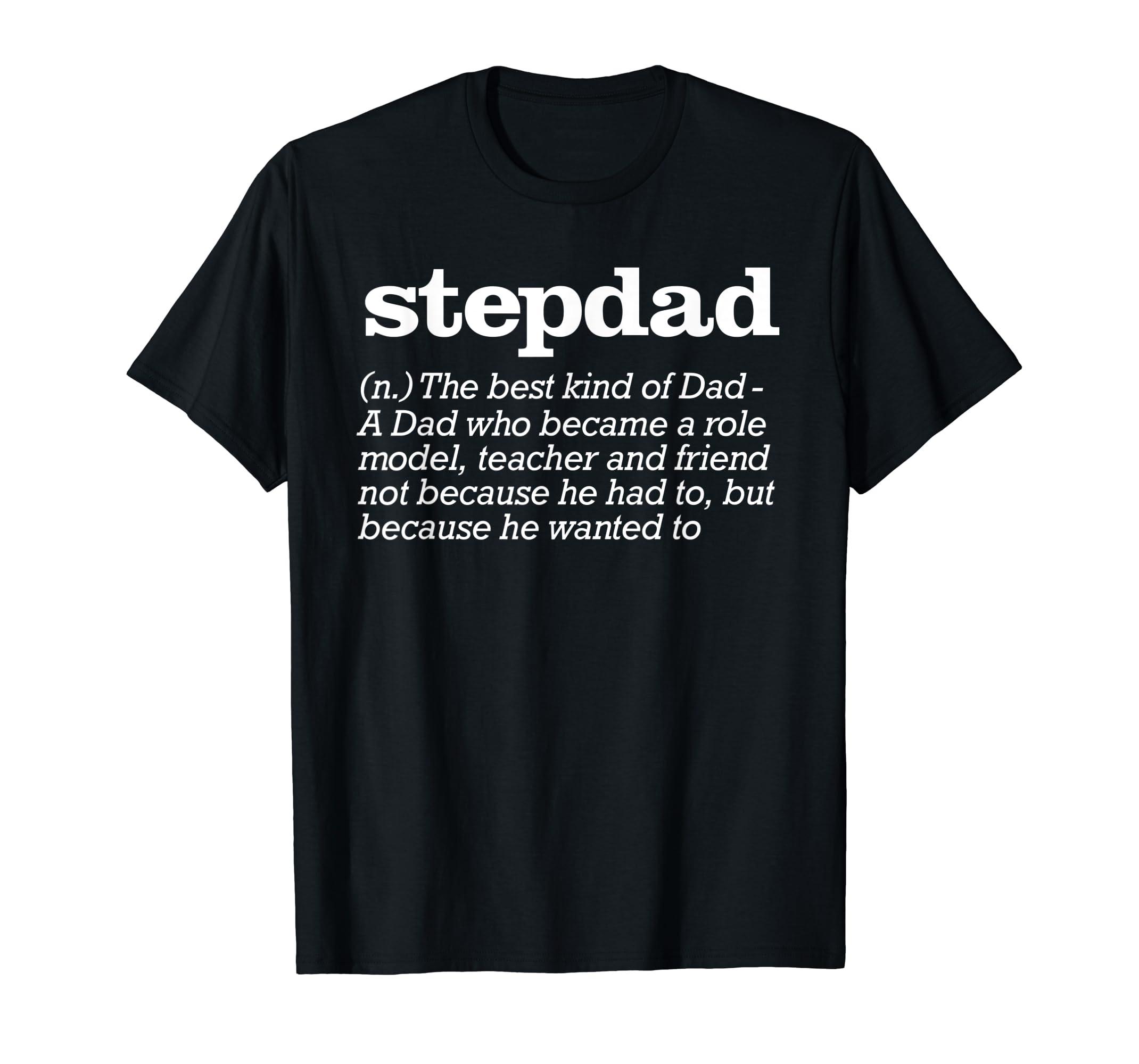 Mens Stepdad Definition Shirt - Stepfather Gift from Kids-Men's T-Shirt-Black