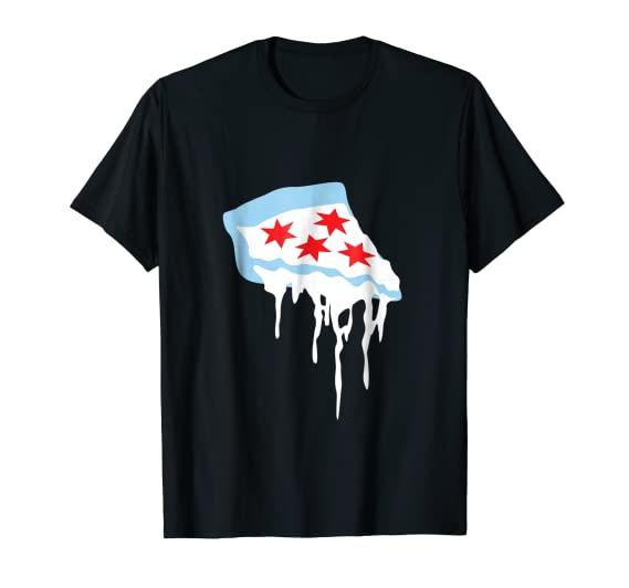 ae2329c1 Amazon.com: Deep Dish Chicago T-shirt- The chicago flag as pizza: Clothing