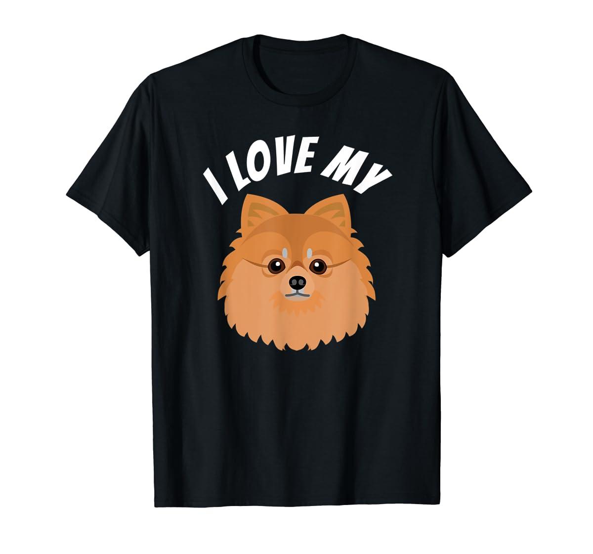 I Love My Pomeranian T-Shirt Dog Lover Tee-Men's T-Shirt-Black