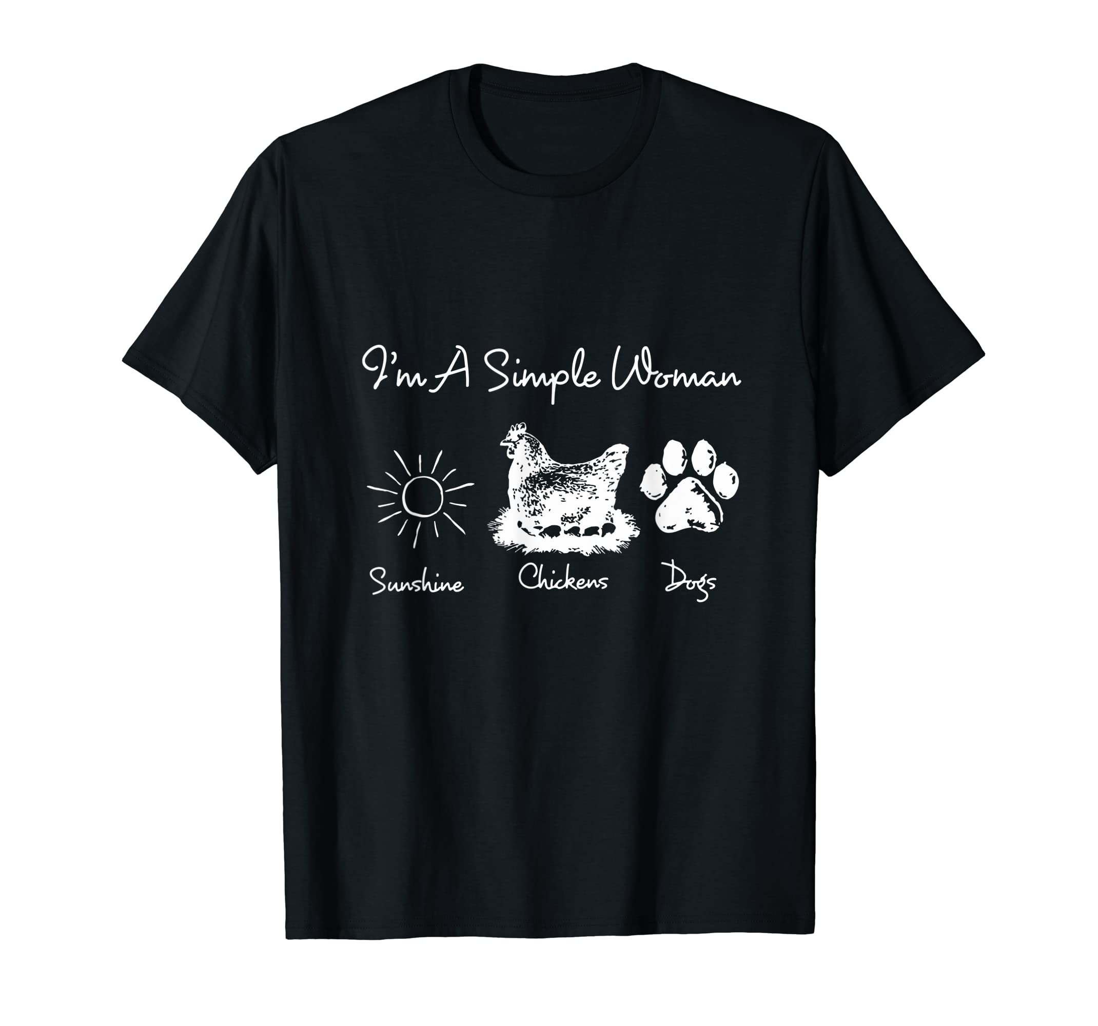 I'm A Simple Woman Sunshine Chickens and Dogs Shirt-Men's T-Shirt-Black
