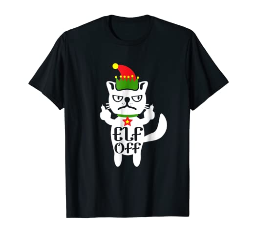 6a3be2ed3 Image Unavailable. Image not available for. Color: Funny Cat Grumpy Kitty  Elf Shirt Christmas Cats Tshirt Meh