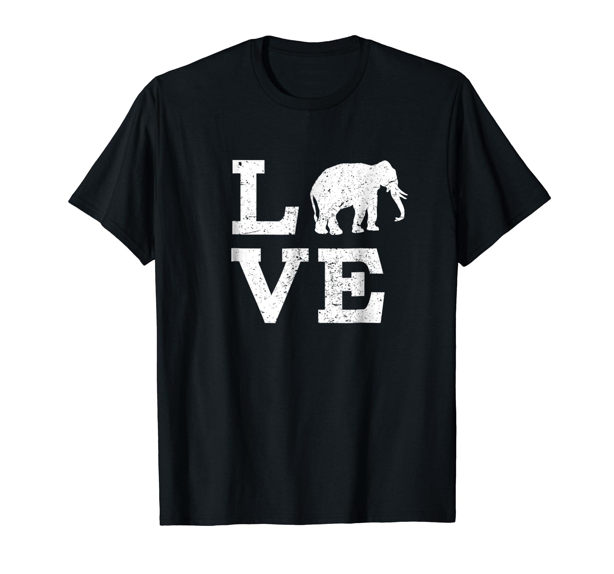 I Love Elephants T-Shirt Funny-Men's T-Shirt-Black
