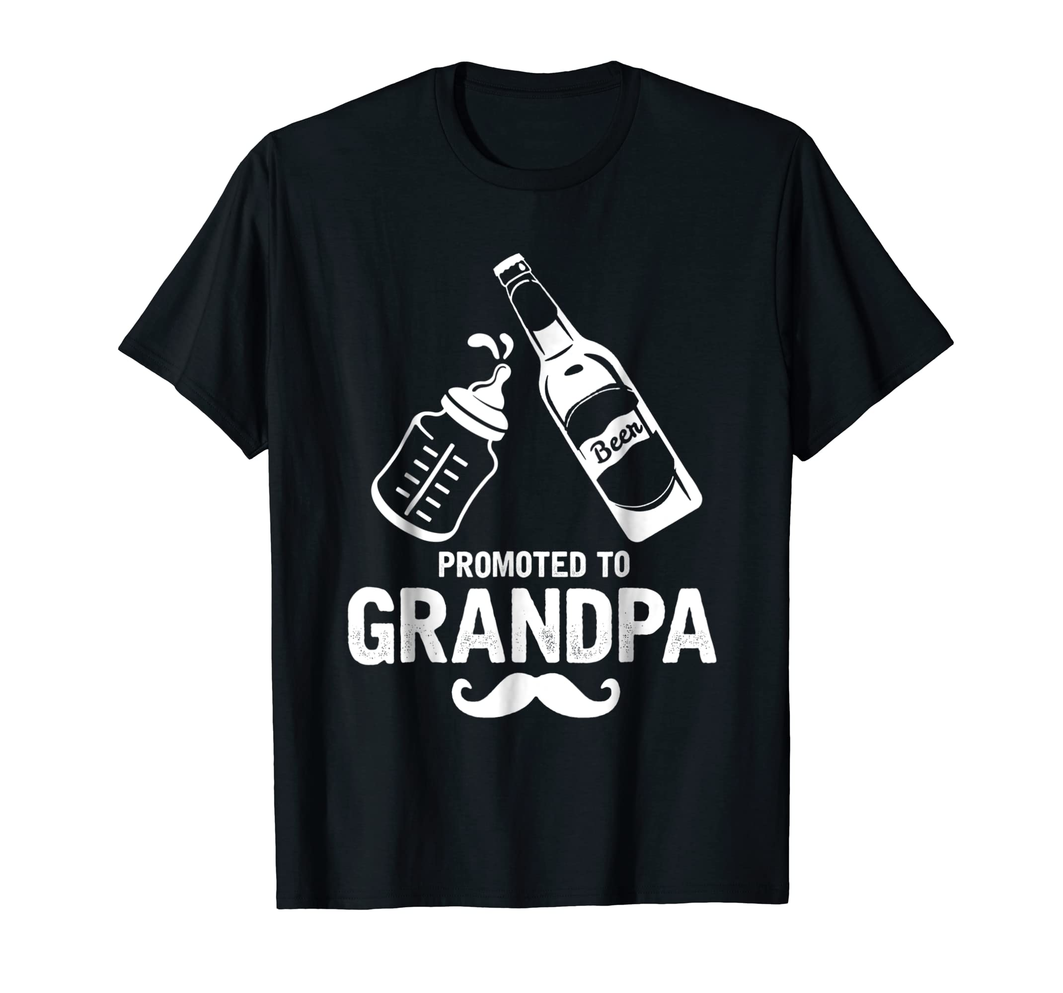 Grandpa Gifts First Time Dad Promoted to Grandpa T-Shirt-Men's T-Shirt-Black