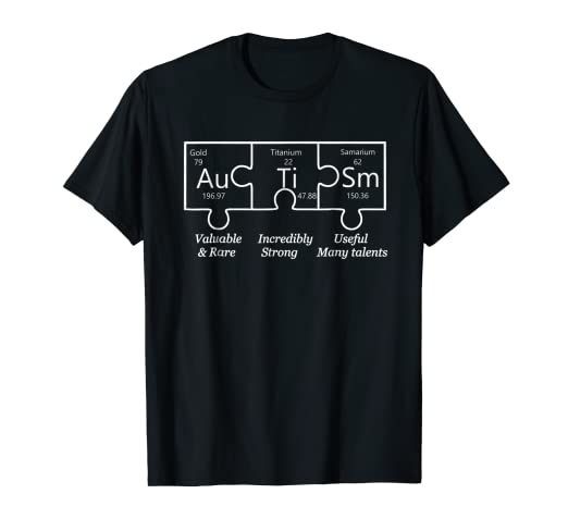 autism awareness puzzle periodic table elements t shirt gift