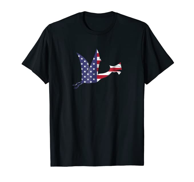 USA American Flag Flying Dinosaur graphic Tee Shirt
