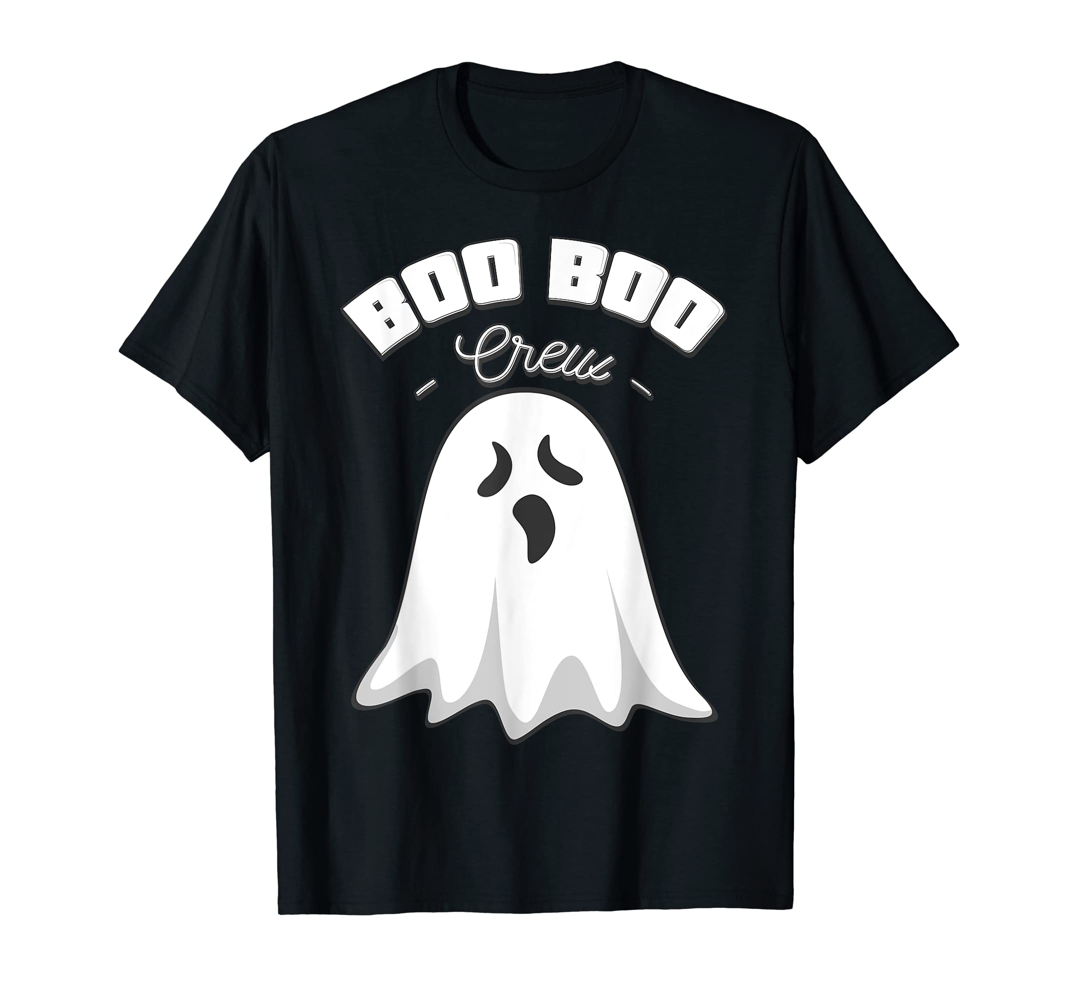 Boo Boo Crew Ghost Funny Halloween Black and Orange Night  T-Shirt-Men's T-Shirt-Black