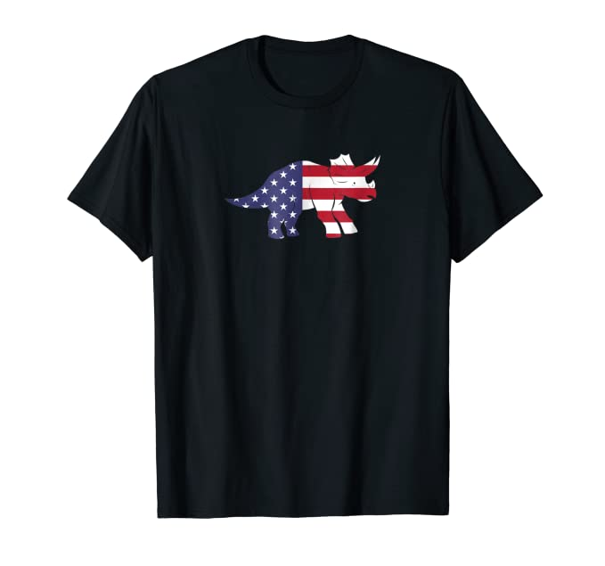Cute USA American Flag Horned Dinosaur all ages Tee Shirt