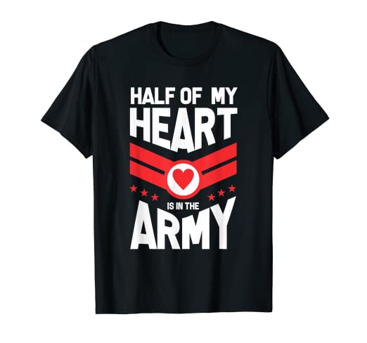 89012bbac17777 Image Unavailable. Image not available for. Color: Half Of My Heart Is In  The Army Shirt | Girlfriend Wife Tee