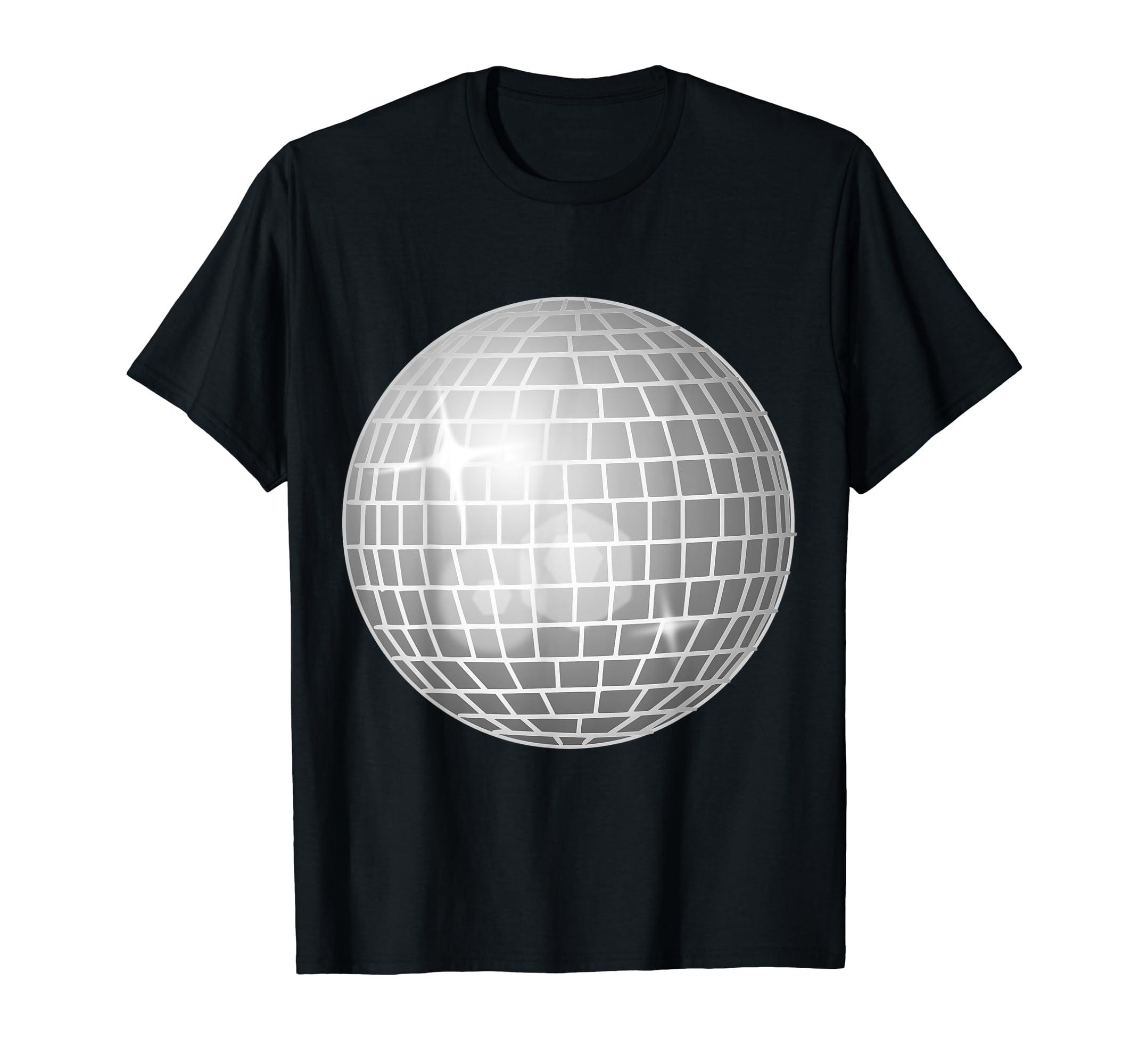 dbdd64a80 Amazon.com: I Love Disco T-Shirt with Silver Cool Mirror Ball Tee Shirt:  Clothing