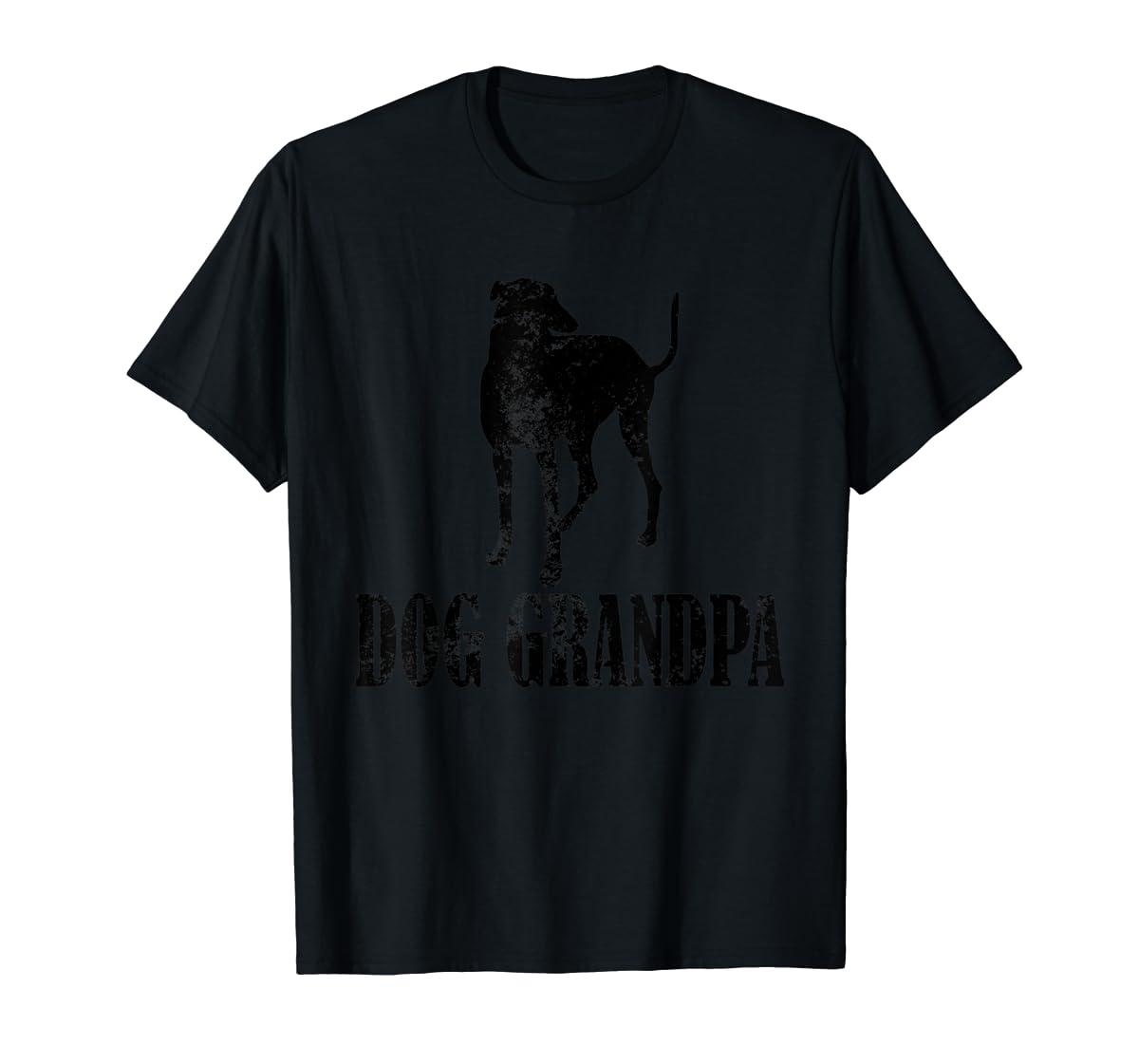 Father's Day T Shirt Greyhound Dog Grandpa T-Shirt Gifts-Men's T-Shirt-Black
