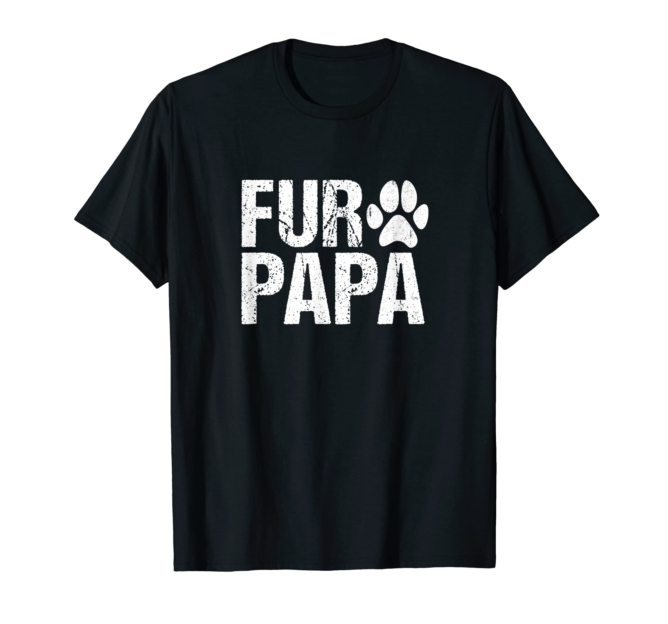 Mens Funny Fur Papa Shirt Pet Lover Dog Dad T-shirt Fathers Day-Men's T-Shirt-Black