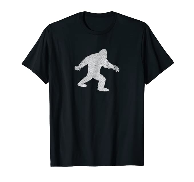 Distressed White Big Foot Walking Graphic Tee Shirt