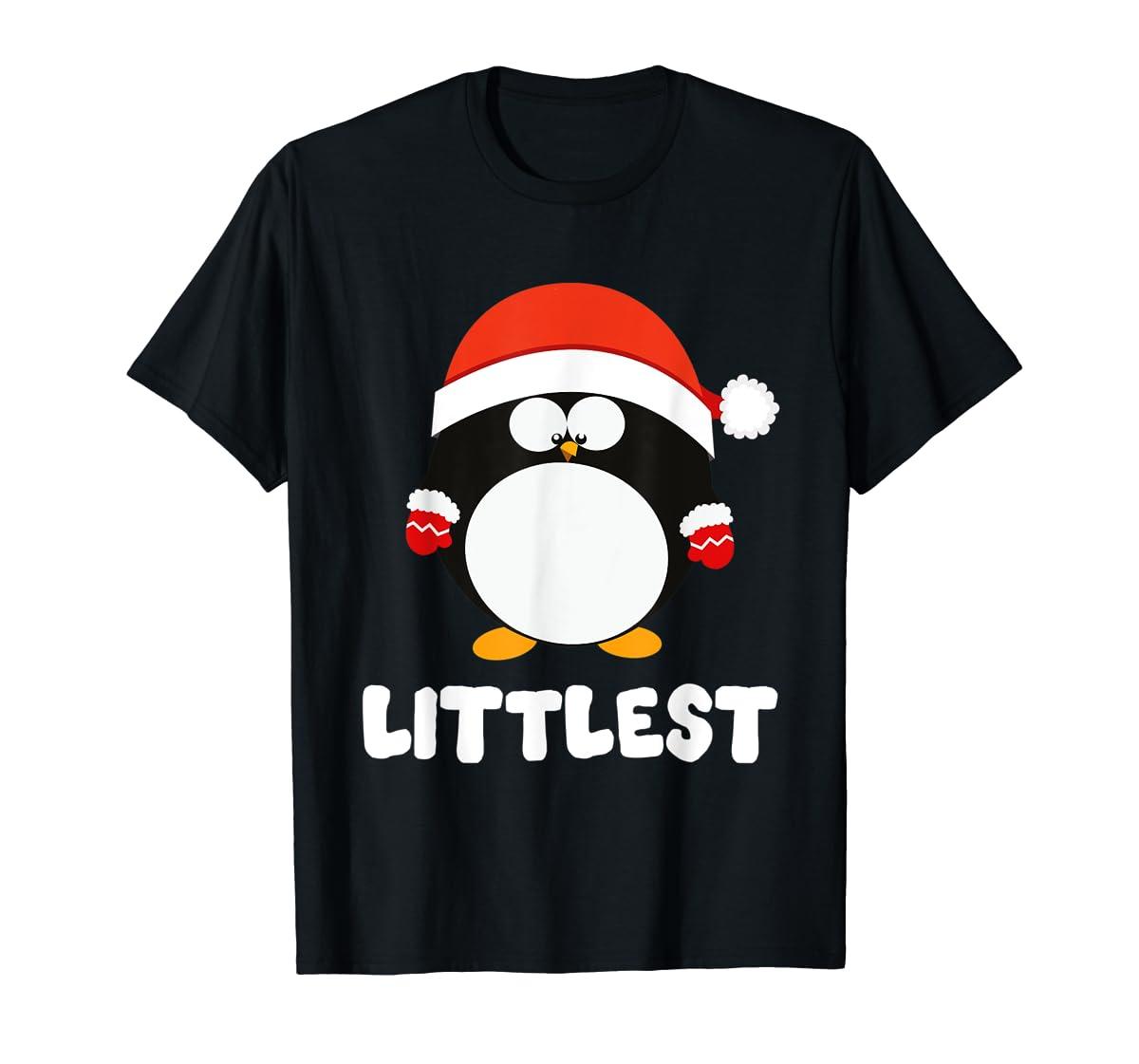Santa Littlest Penguin Christmas Family Matching Costume T-Shirt-Men's T-Shirt-Black