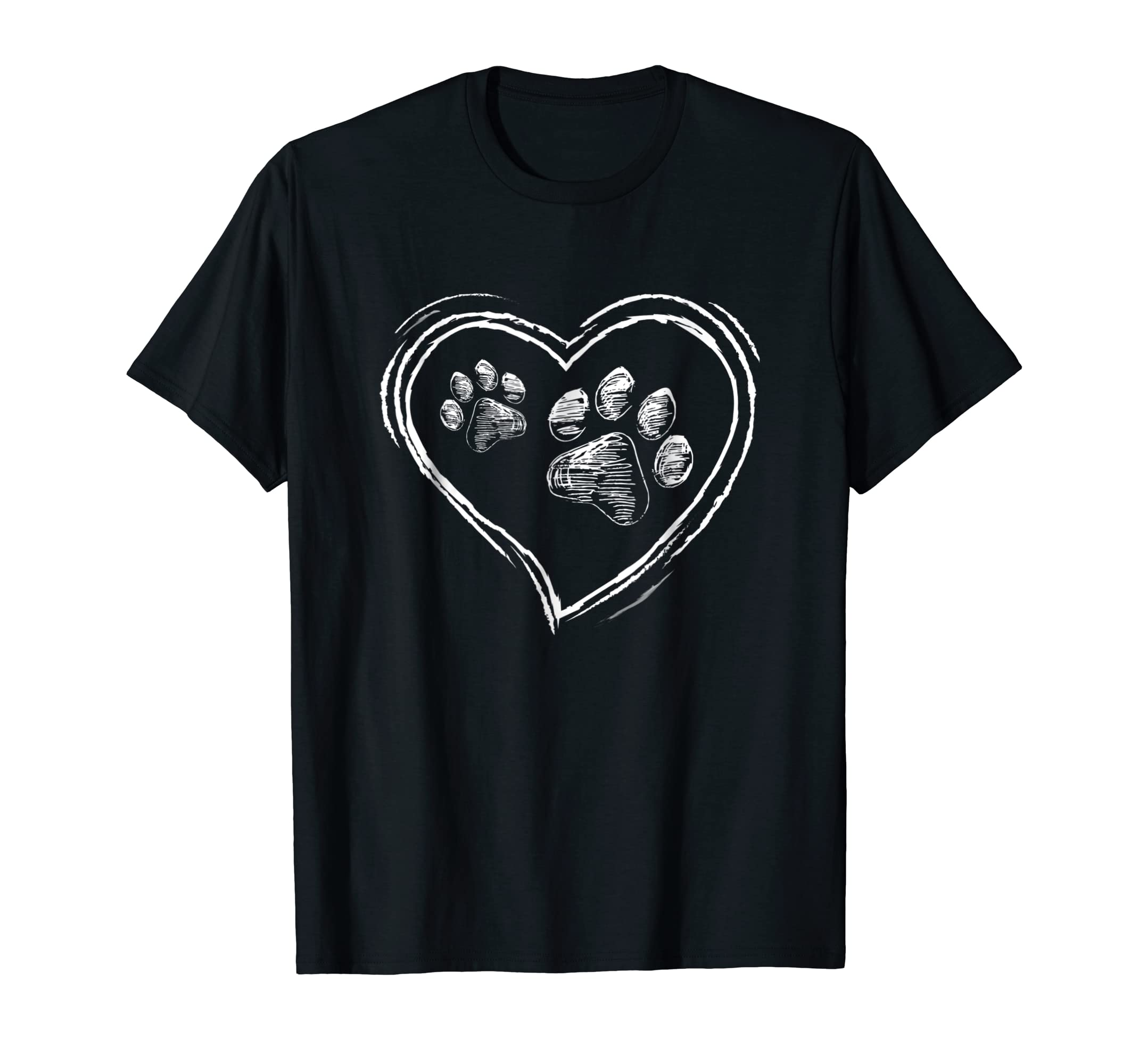 Dog Puppy Shirt - I Love Dogs Paw Print Heart Cute Women Men-Men's T-Shirt-Black