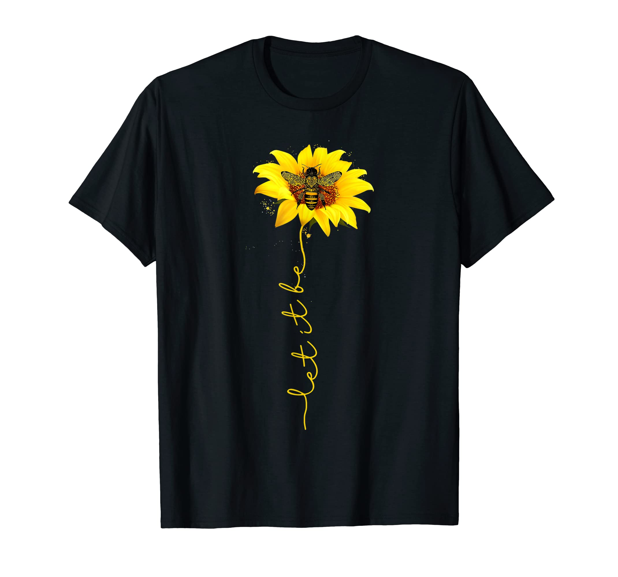 Tee Let It Bee Sunflower Graphic T-Shirt-Men's T-Shirt-Black