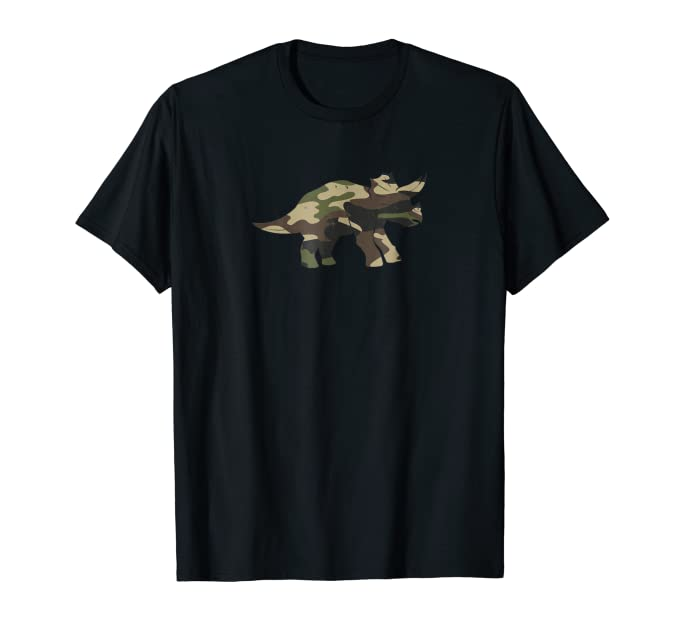Cute Horned Camouflage Dinosaur graphic Tee Shirt