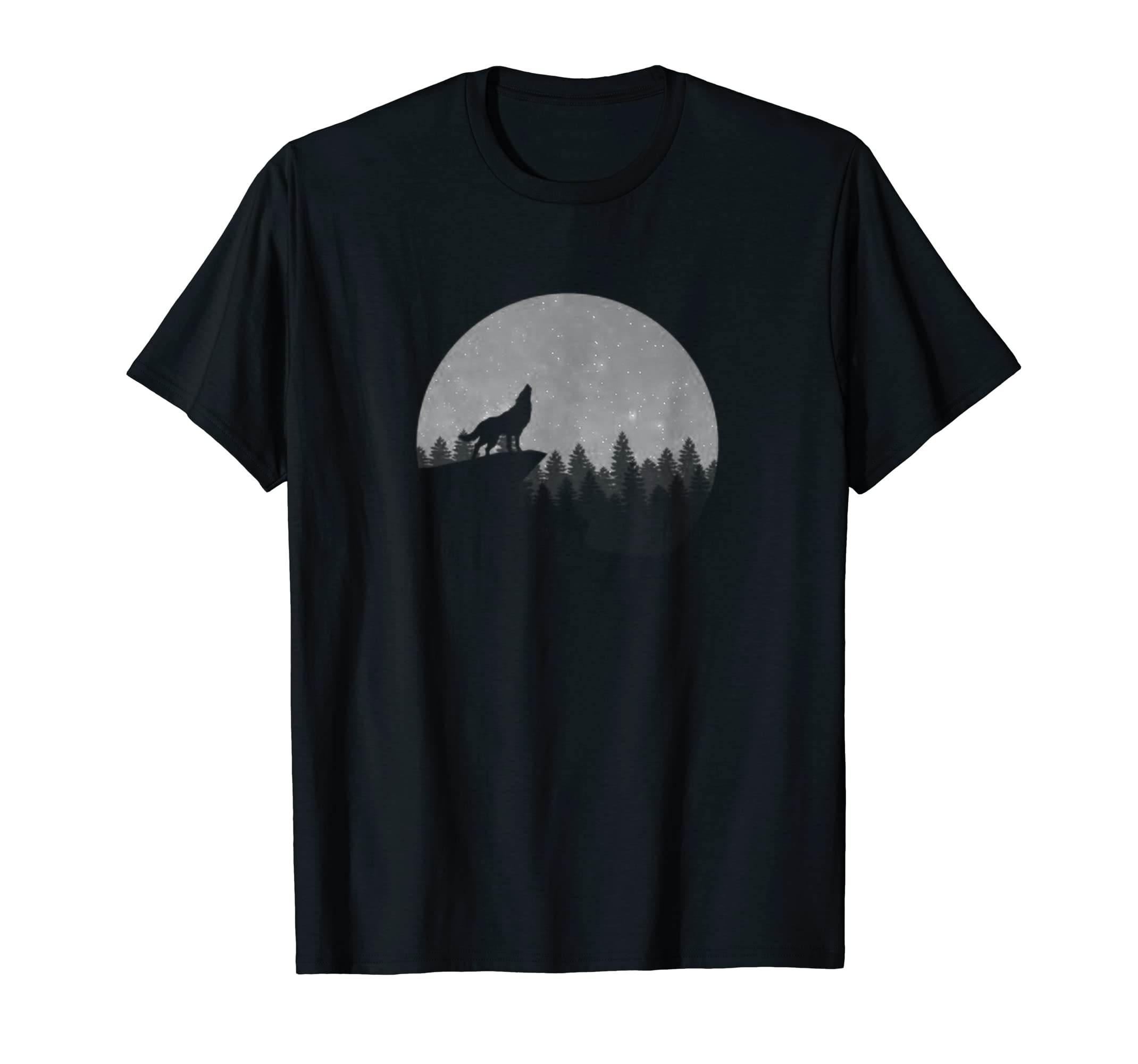 Wolf in Nature & Moon TShirt Cool Camping Gift for Campers T-Shirt-Men's T-Shirt-Black