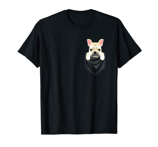 8f0691bb6a1 Amazon.com  Cream French Bulldog Pocket Graphic T-Shirt Frenchie Dog ...