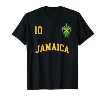 7d20ab842 Image Unavailable. Image not available for. Color  Jamaica Shirt Number 10  Soccer Team Sports Jamaican Flag