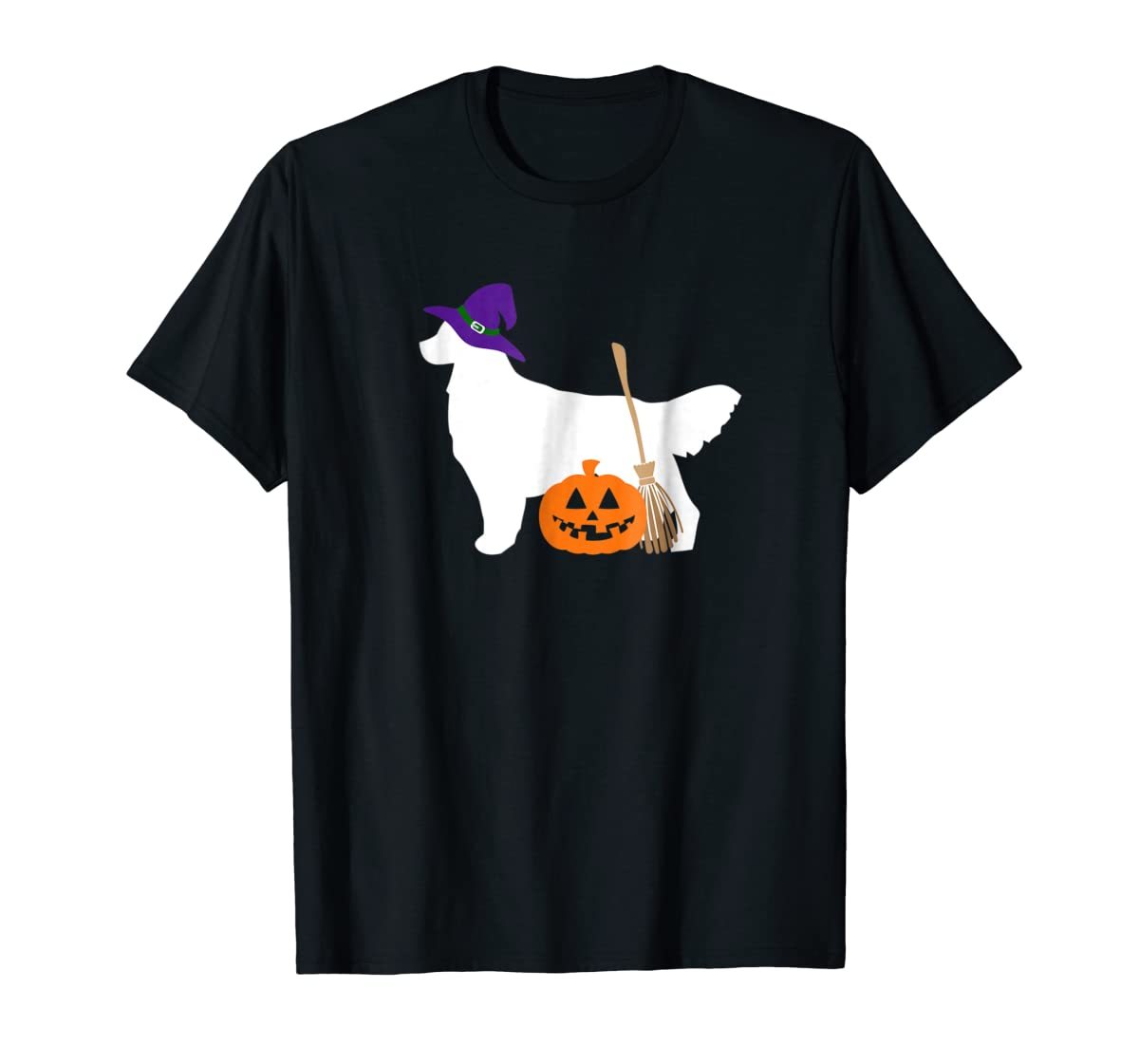 Golden Retriever Witch Hat Halloween Dog T-Shirt-Men's T-Shirt-Black