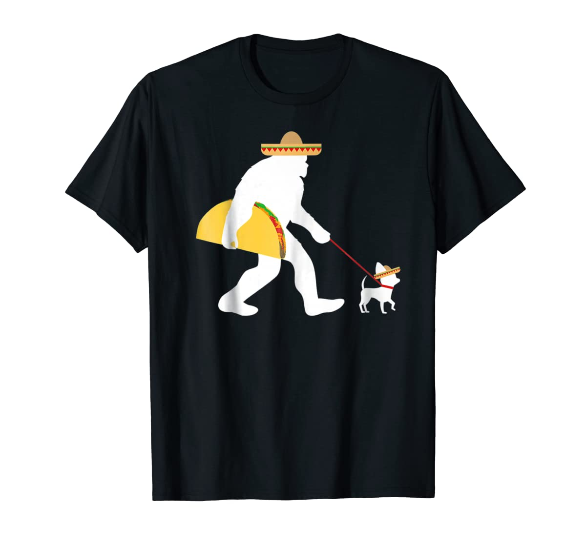 Bigfoot Taco Sombrero Chihuahua Dog Cinco de Mayo T-shirt-Men's T-Shirt-Black